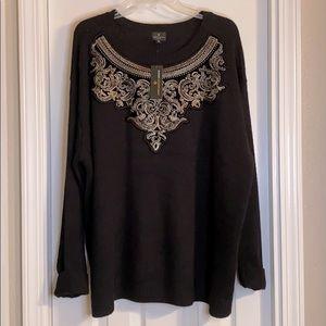 NWT Worthington 2X Embellished Neck Sweater